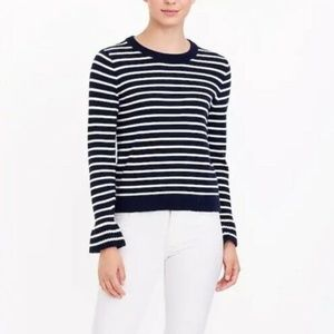 J. CREW Navy Striped Wool Ruffle Cuff Bell Sweater